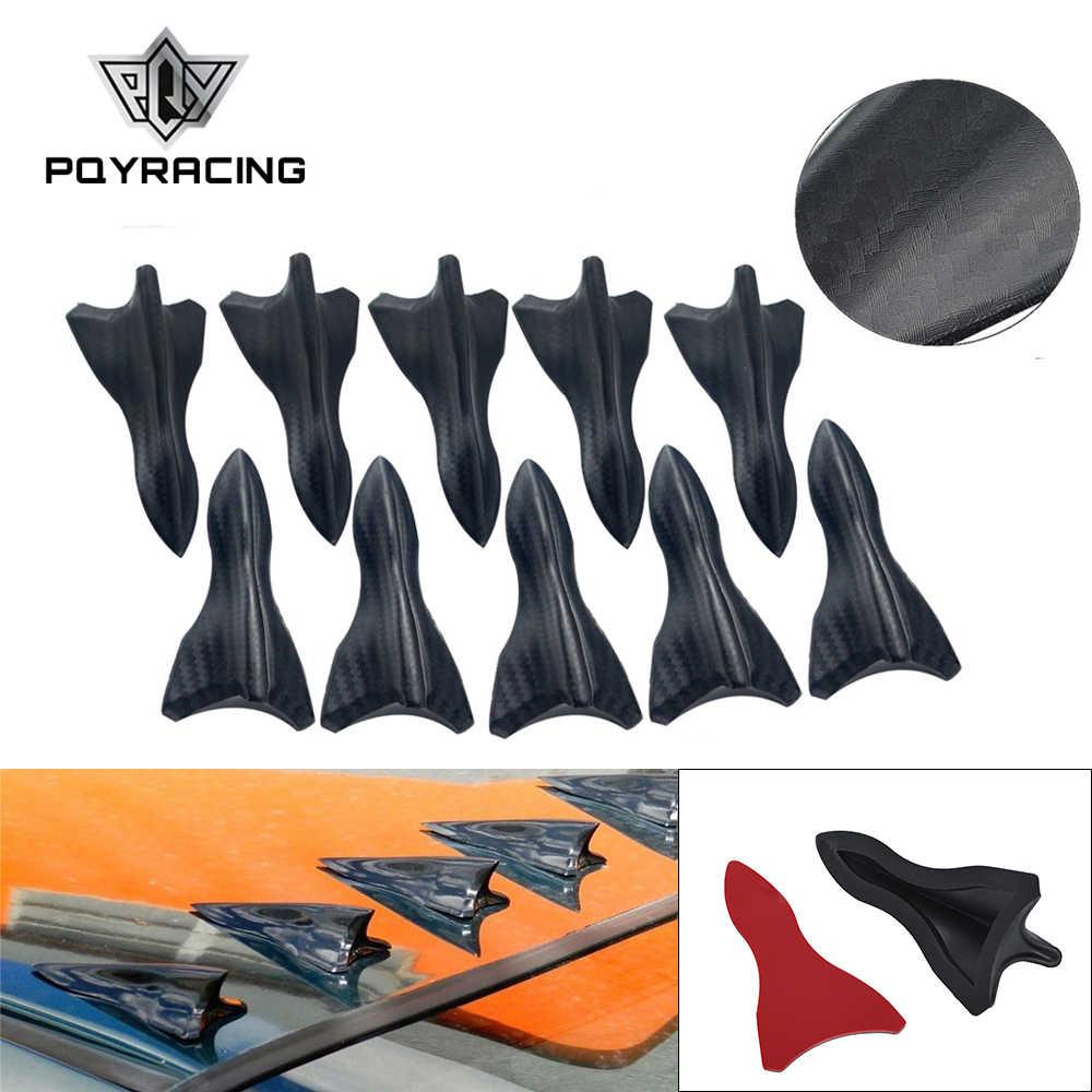 10 個の炭素繊維デザイン格好色渦発生柔軟な pp EVO-STYLE 屋根サメフィンスポイラーウイングキットユニバーサル