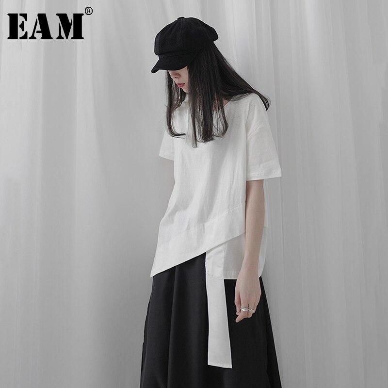 [EAM] Frauen Weiß Band Asymmetrische Split Große Größe T-shirt Neue Rundhals Kurzarm Mode Flut Frühling Sommer 2020 1T237