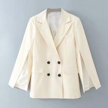 Elegant white lapel suit blazer coat pockets office wear sol