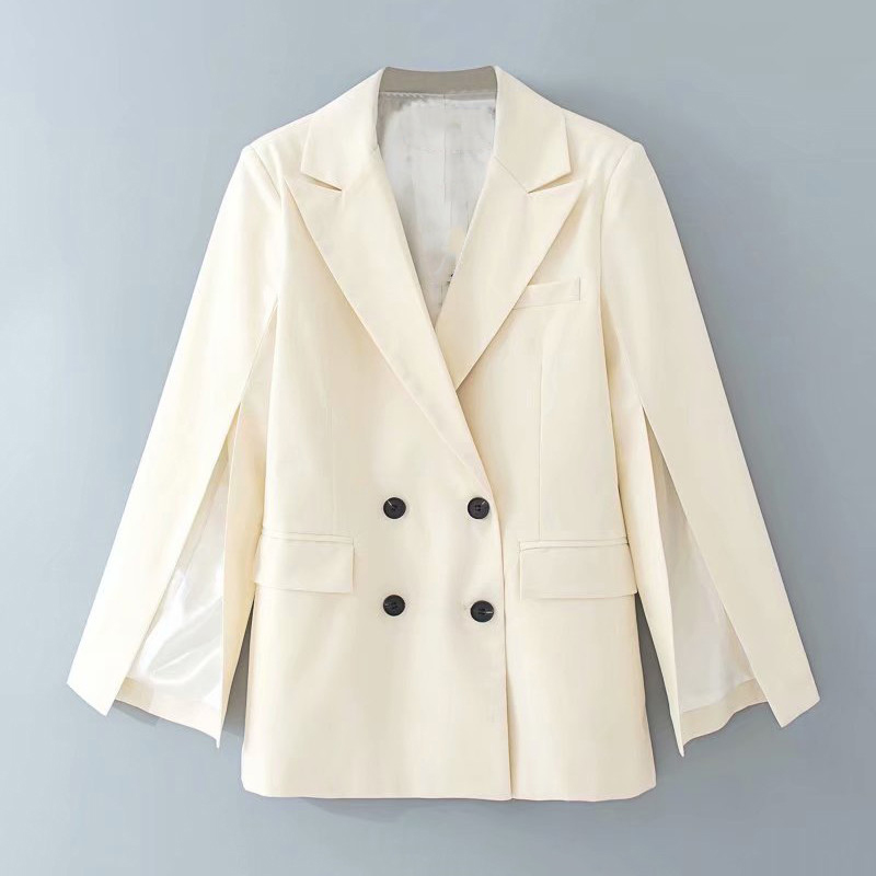 Elegant White Lapel Suit Blazer Coat Pockets Office Wear Solid Outerwear Female Casual Chic Open Stitch Tops