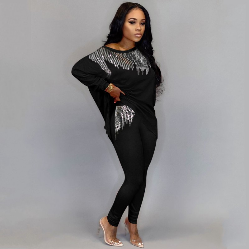 2020 Winter Women Sets Full Sleeve Sequined Top + Pants Suits Two Piece Set Casual Tracksuits Loose Fitness Streetwear Outfits