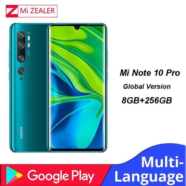 Originele Global Versie Xiao mi mi note 10 Pro smartphone 8 Gb ram 256GB rom 108MP PENTA CAMERA 5260 mAh Snapdragon730G mobiel