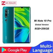 기존 글로벌 버전 xiao mi mi note 10 pro 스마트 폰 8 gb ram + 256 gb rom 108mp penta 카메라 5260 mah snapdragon730g 핸드폰