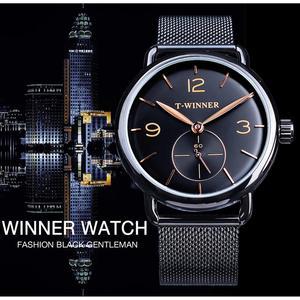 Image 2 - Winner relojes mecánicos para hombre, correa de malla de acero inoxidable analógica, de cuerda a mano, delgada, Simple