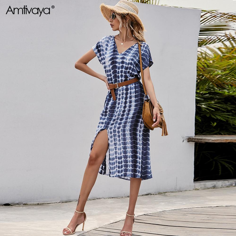 Amtivaya Summer Beach Maxi Dress Women Floral Print Boho Long Dress Casual V-neck Split Gradientsexy Party Dress Robe Femme
