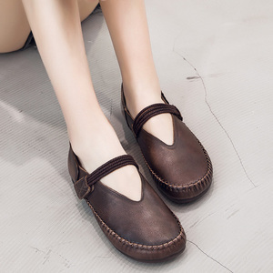Image 4 - Gktinoo Lente Dames Echt Lederen Handgemaakte Retro Schoenen Vrouwen Klittenband Platte Schoenen Vrouwen 2020 Herfst Zachte Loafers Flats