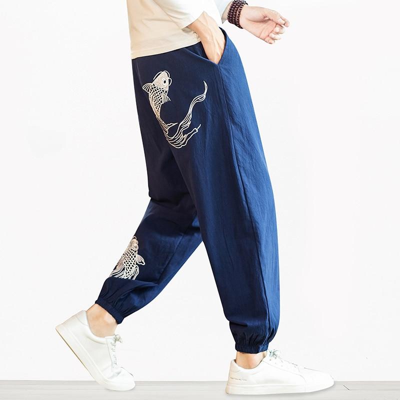 Men Harem Pants 2020 New Fashion Embroidery Man Casual Loose Pants Hip Hop Streetwear Cotton Linen Male Trousers 5XL