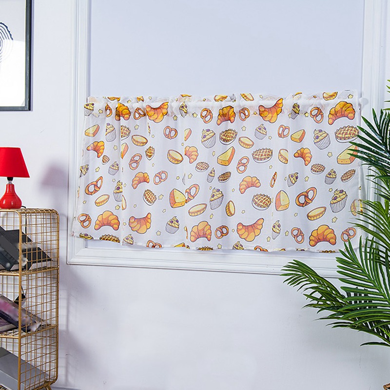 Kitchen Bedroom Printed Curtains For Small Window Treatment Valances Rod Pocket Short Drapes Home Decoration