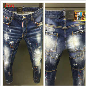 F.N.JACK Men Jeans Pencil-Pants Ripped Outwear Straight Denim Slim for Man