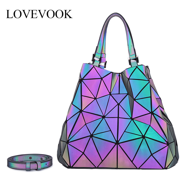LOVEVOOK Women Handbag Crossbody Shoulder Bags For Ladies 2019 Large Capacity Foldable Totes Hobos Bag Geometric Bag Holographic