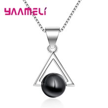 New Arrival Women Fashion Black Glass Pendant Necklaces 925 Sterling Silver Chain Geometric Triangle Design Party Accessory(China)