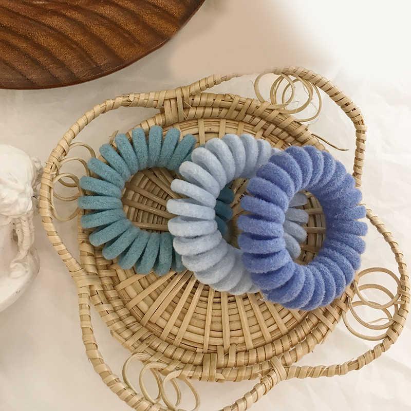 Femmes élastique cheveux chouchous téléphone fil floqué tricot bandeaux spirale forme queue de cheval cheveux cravates gomme caoutchouc cheveux corde anneau