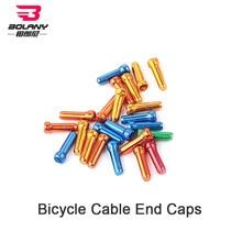 Bolany 50 pçs/lote tampas de extremidade do cabo da bicicleta desviador mudança fio virolas freio shift dicas de cabo interno crimps liga alumínio da bicicleta