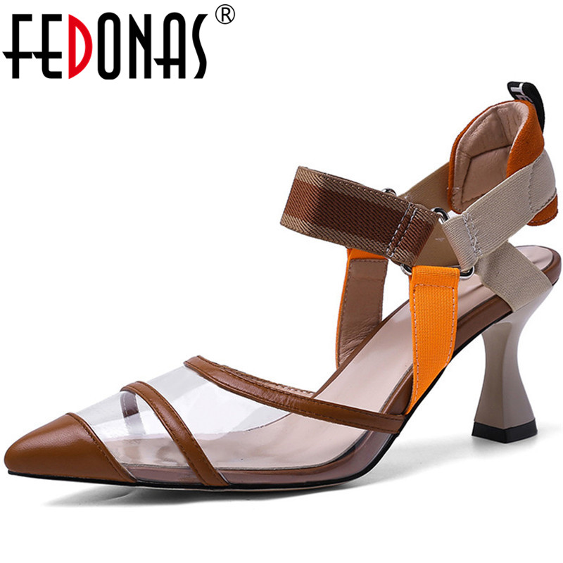FEDONAS  New Arrival Women Wedding Party Pumps Spring Summer Point Toe Shoes Elegant Genuine Leather Brand Shoes Woman