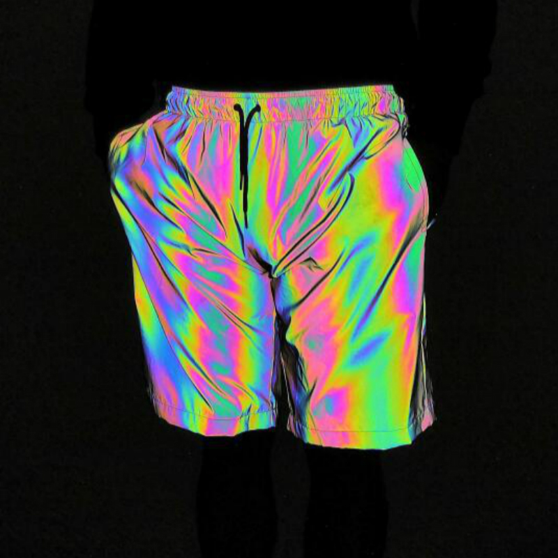 Rainbow Gym Sport Shorts Men Reflective Light Cargo Joggers Casual Hip Hop Dazzling Plus Size Loose Elastic Waist Hot Short Pant