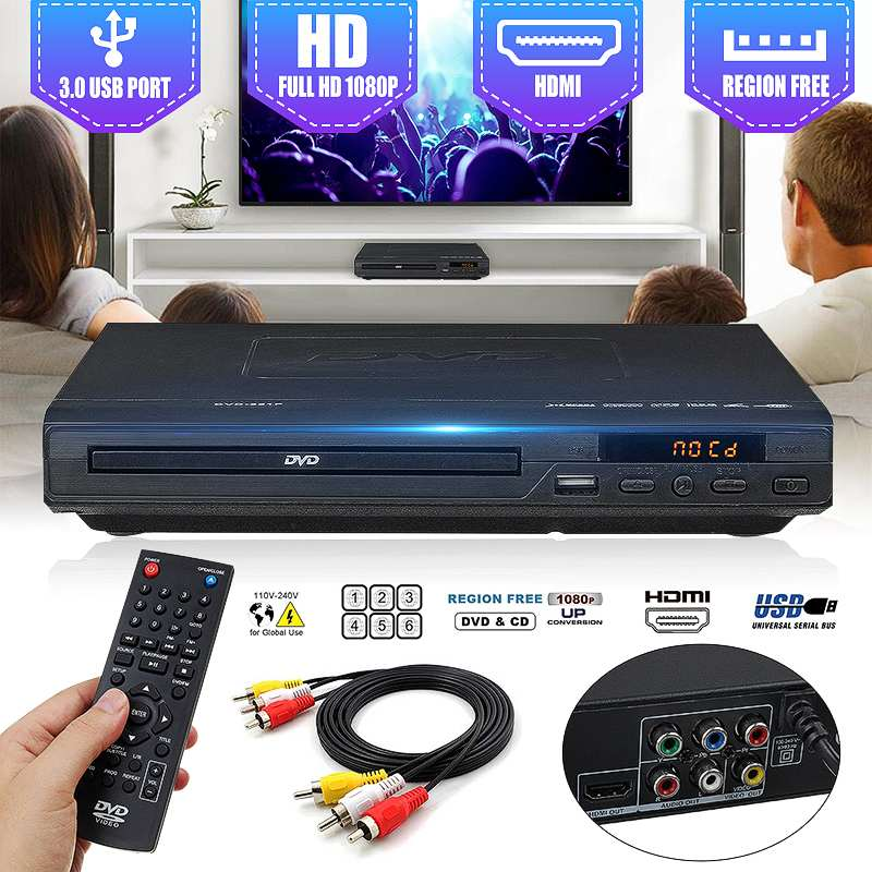 Home 1080P HD DVD Player USB Multimedia Digital DVD TV Support HDMI-compatible CD SVCD VCD MP3 MP4 Video
