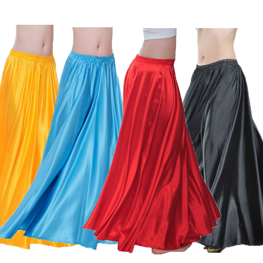 Satin Shining Belly Dance Skirt For Woman Big Swing Gypsy Spanish Flamenco Dancesuit Costumes Stage Wear Performance Clothing