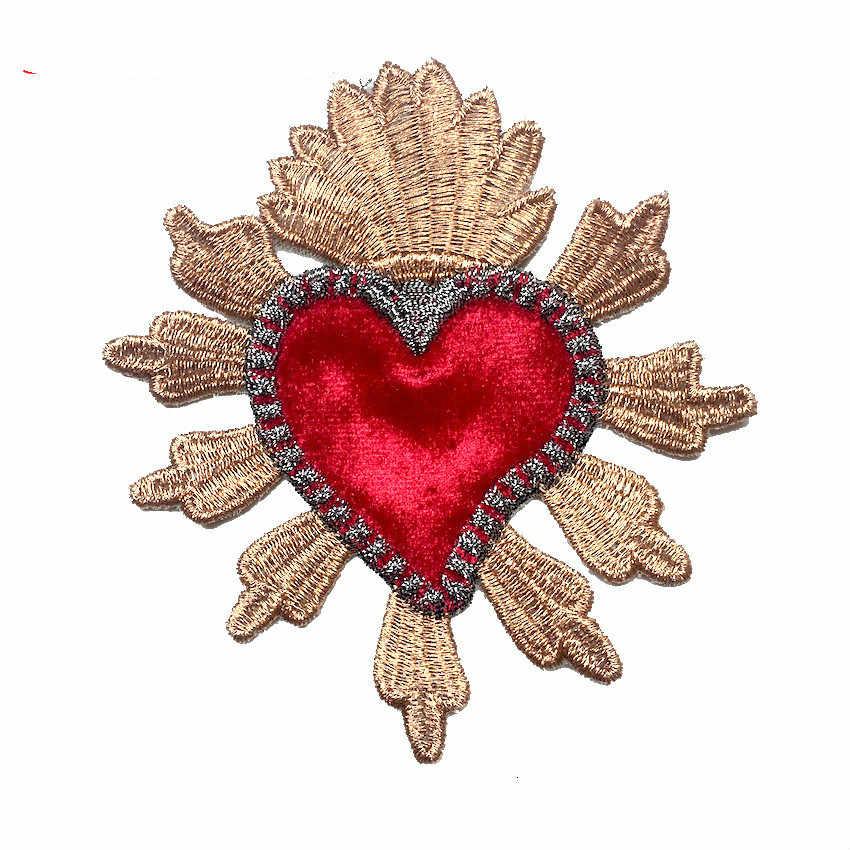 新ゴールドクラウンと赤愛する心の愛パッチファッション刺繍パッチ服ジャケットアップリケ DIY アクセサリー