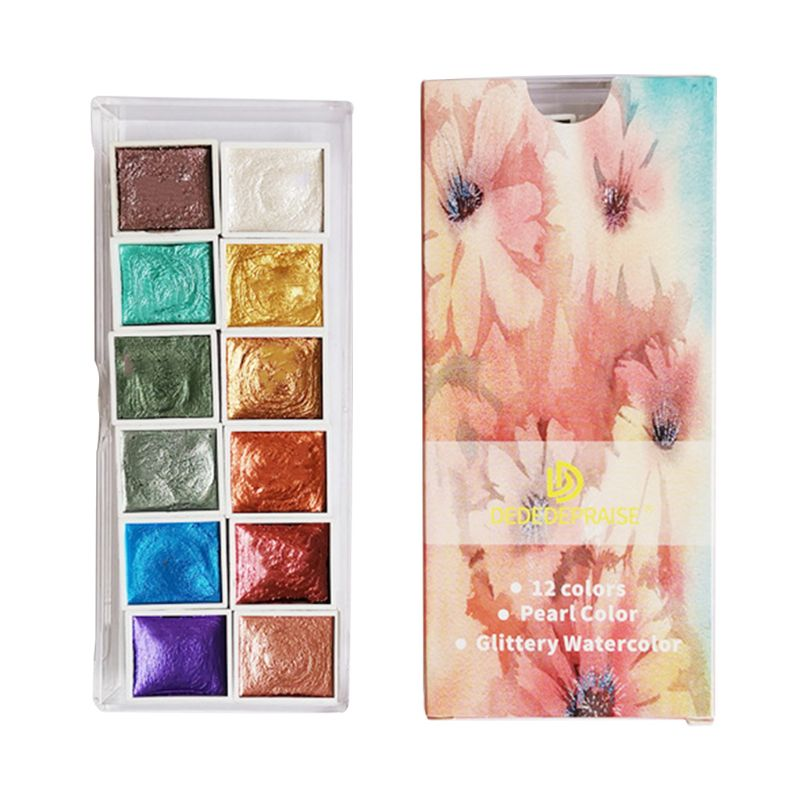 6/12 cor glitter água cor conjunto sólido tintas aquarela ouro metálico aquarela pigmento pintura artista suprimentos