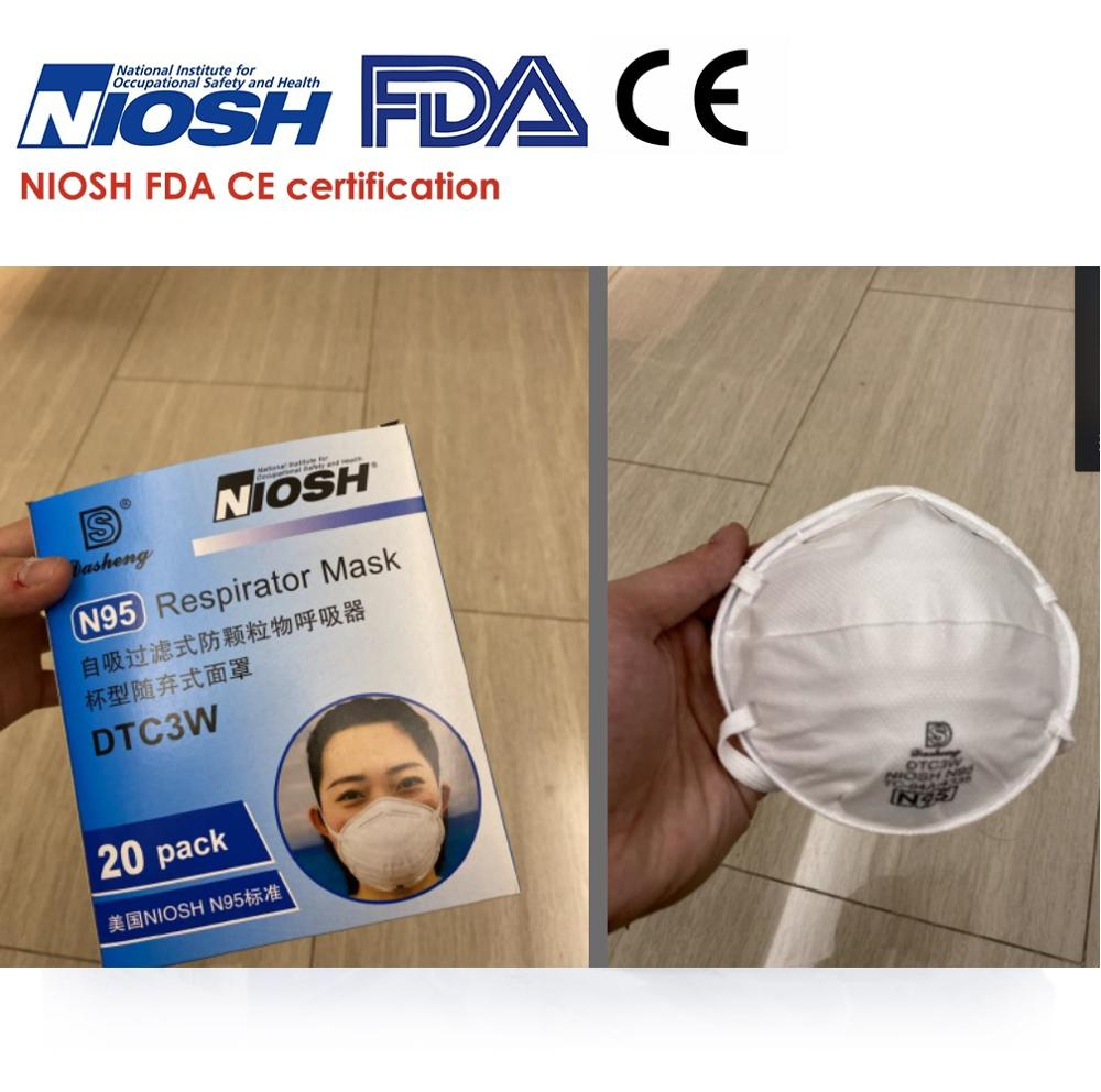 IN STOCK N95 Mask Non-disposable FDA Approved Safety Sealed Pack Anti Infection Respirator PM2.5 Mouth Mask 20pcs/box