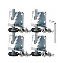 4 adet karbon çelik yükseklik dişli ayarlanabilir tesviye Glides ayaklar ağır Metal tesviye ayakları mobilya ve dolap için