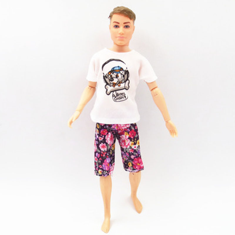 1//6 Boy Doll Clothes For Ken Doll Outfits Floral Top T-shirt /& Denim Shorts Toy