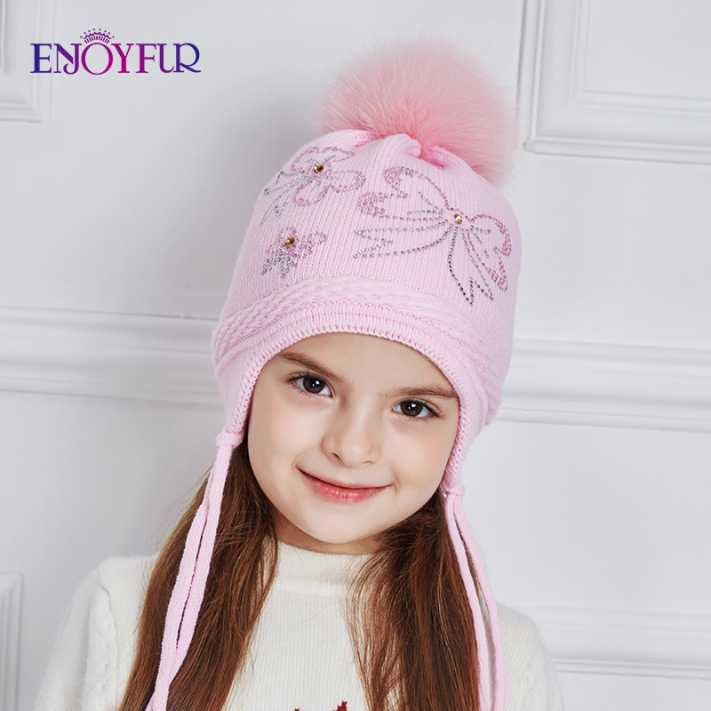 ENJOYFUR Rhinestones Bow-Knot Children Winter Hats Real Fox Fur Pompom Knitted Hat Girl Beautiful Pink Girls Beanies Autumn Caps