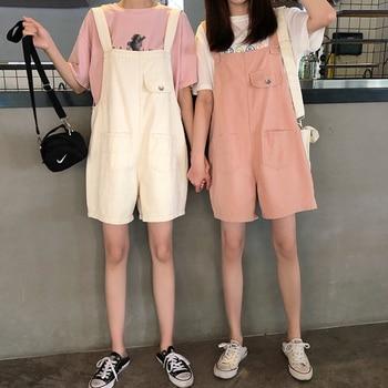 цена Korean women's denim overalls shorts pure white pink wild college style girlfriends overalls multi-button adjustable overalls онлайн в 2017 году