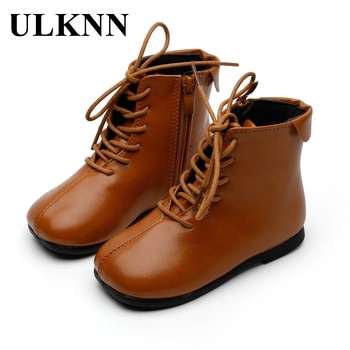 ULKNN Children Leather Boot Girls Winter Brown Casual Flats Footwear Rubber Sole Size 24-35 Breathable Martin Shoes