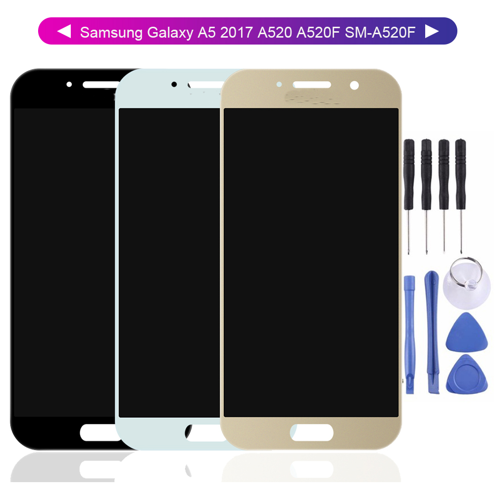 For Samsung Galaxy A5 2017 A520 A520F SM-A520F  LCD Display Screen Digitizer Touch Panel Glass Sensor Assembly Replacement Part