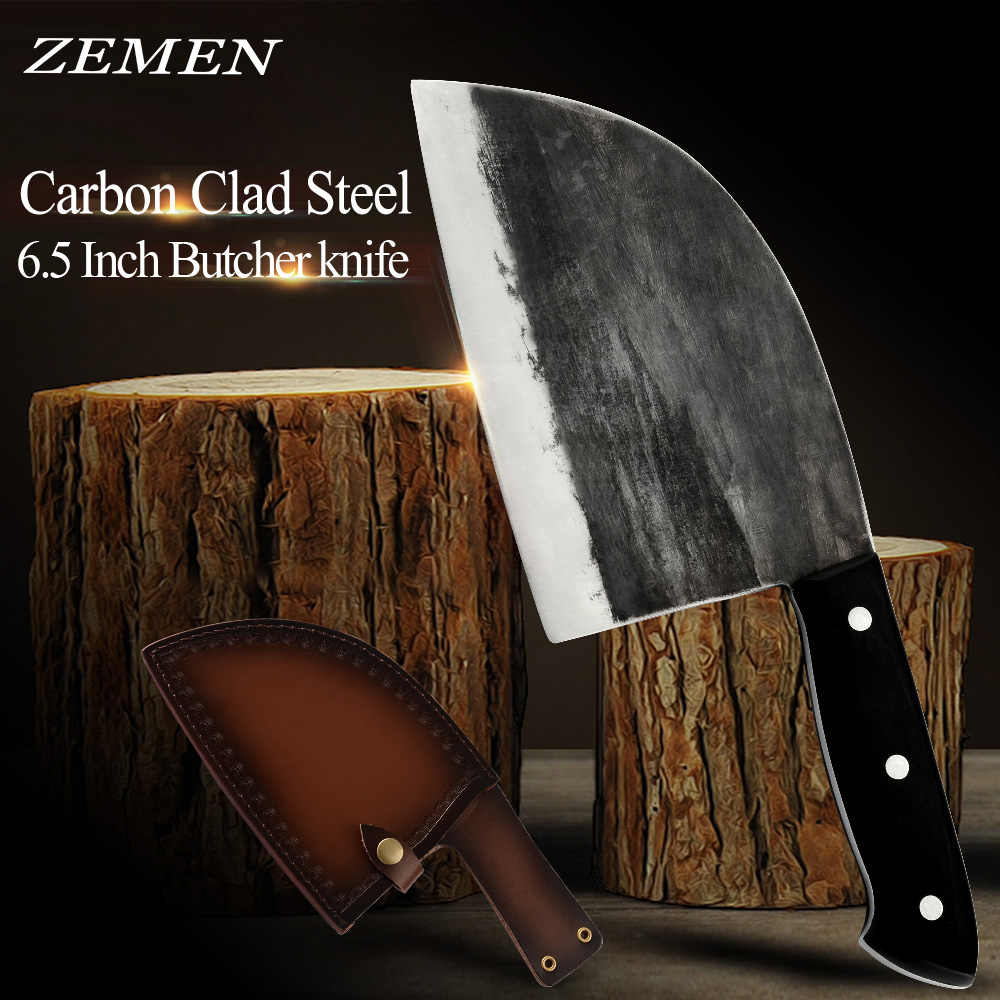 ZEMEN Butcher Knife High Carbon Clad Steel Chop Knife Handmade Forged Chinese Cleaver With Full Tang Handle Chef Cooking Tools