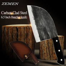ZEMEN Butcher Knife High Carbon Clad Steel Chop Knife Handmade Forged Chinese Cleaver With Full Tang Handle Chef Cooking Tools(China)