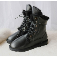 G&Zaco Genuine Sheepskin Leather Snow Boots Women Wool Waterproof Lace Natural Sheep Fur Mid-Calf Winter Female Flat