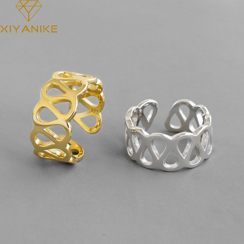 XIYANIKE 925 Sterling Silver Creative Hollow Width Rings Fashion Simple Geometric Party Jewelry For Women Size 16.9mm Adjustable