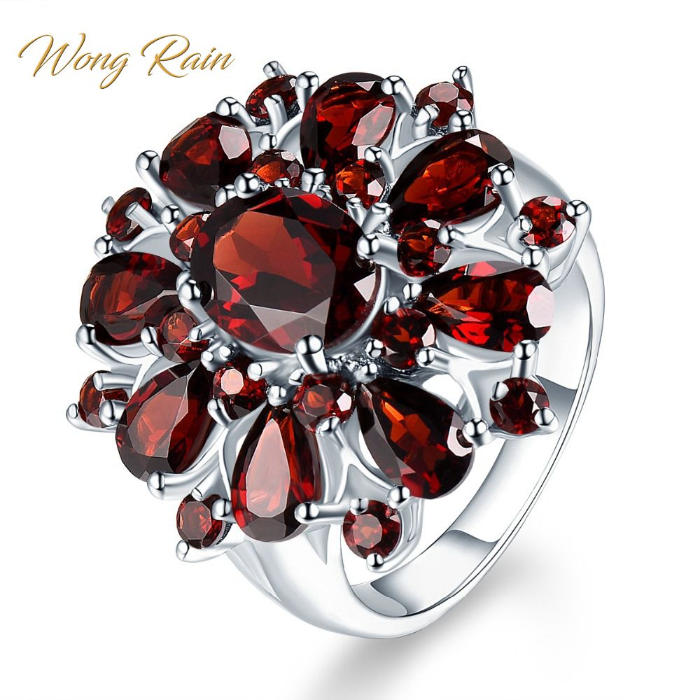 Wong Rain Vintage 100% 925 Sterling Silver Ruby Gemstone Wedding Engagement Cocktail Flower Ring Women Fine Jewelry Wholesale
