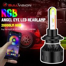 BULLVISION H4 H7 Led RGB Headlight Colorful 9005 9006 H11 Car Lights Hb3 Hb4 Turbo CSP App Bluetooth Control  20000LM H8 H9 Bulb