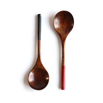 Wooden Spoon Soup-Teaspoon Solid Wood Porridge Spoon  Honey Coffee Creative Japanese-Style Green Tableware For Kicthen