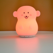 Monkey LED Night Light Wireless Bluetooth Speaker 9 Colors USB Cartoon Silicone Music Player Bedroom Bedside Lamp for Children