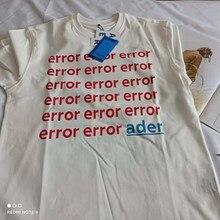 Camiseta de manga corta unisex, prenda de vestir, de estilo veraniego, con estampado de logotipo de error y letras ader, color blanco, Hip-Hop, 2021