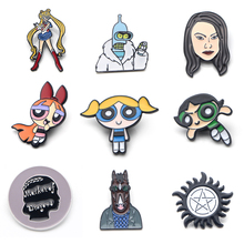 V125 Futurama and The Powerpuff Girls Metal Enamel Pins and Brooches Fashion Lapel Pin Backpack Bags Badge Collection Gifts v280 game mass effect metal enamel pins and brooches fashion lapel pin backpack bags badge collection
