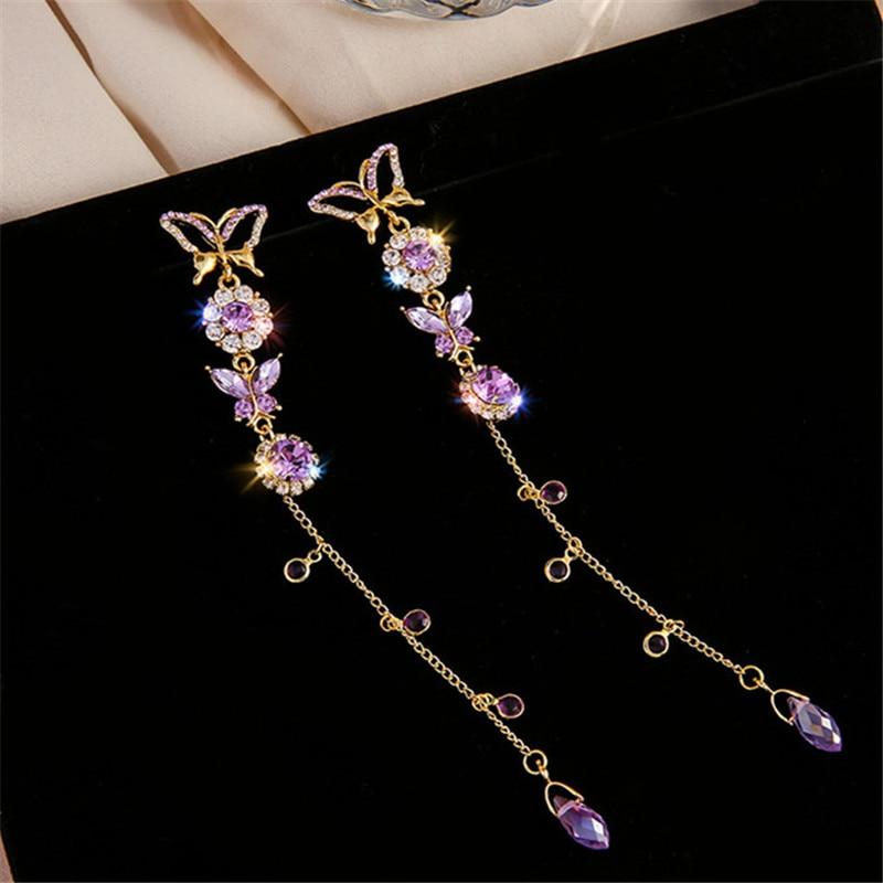 FYUAN Beautiful Butterfly Drop Earrings for Women Long Tassel Purple Crystal Earrings Weddings Engagement Jewelry Gift