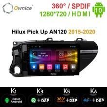 جهاز ملاحة للسيارة مزود بنظام تشغيل أندرويد 10.0 ونظام تحديد المواقع للسيارة Toyota Hilux Pick Up AN120 2015 2020 k3 k5 k6 4g LET DSP 360 مشغل بانوراما 64G ROM