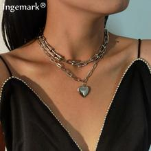 Goth Lover Heart Lock Necklace Iron Metal Female Punk Silver Color Chunky Thick Cuban Curb Long Chain Necklace Aesthetic Jewelry