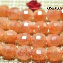 Onevan натуральный Золотой sunstone плоские круглые граненые