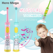 цена на HERE-MEGA electric toothbrush for children kids automatic toothbrush children's toothbrush baby Musical Rotation Type waterproof