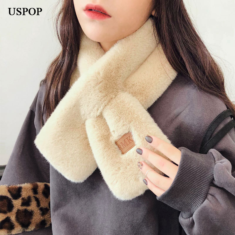 USPOP 2019 New fashion scarves winter women scarf female thickened warm faux fur ring