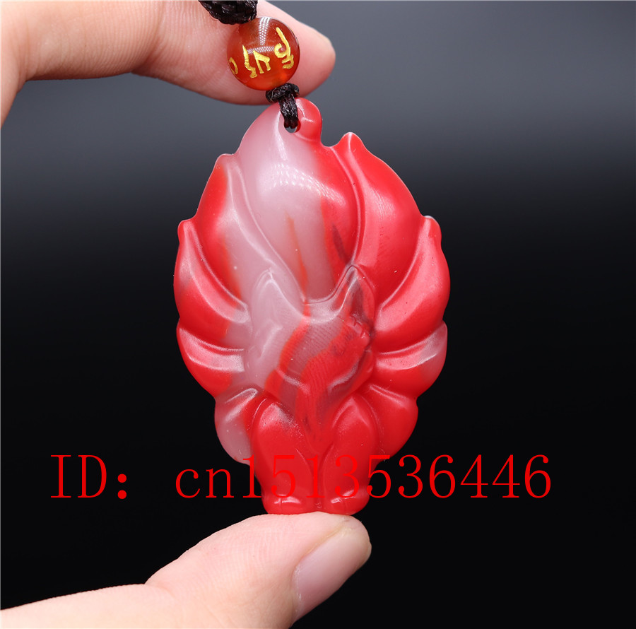 Chinese Colorful Jade Seven-tailed Fox Pendant Necklace Jewellery Hand-Carved Relax Healing Women Man Luck Gift Free Rope