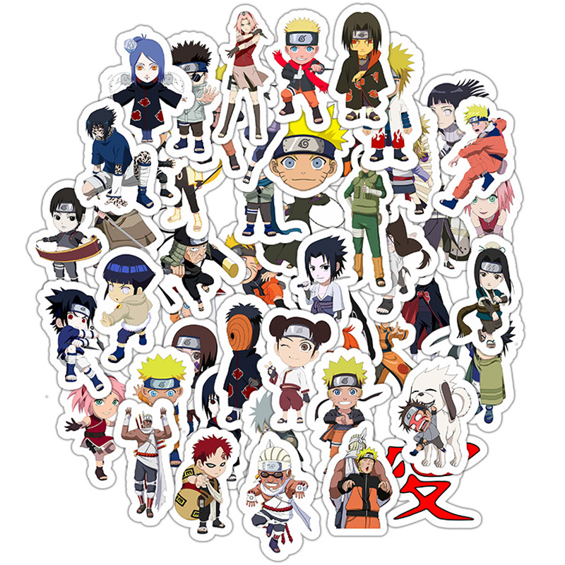 50PCS Japan Anime Naruto Sasuke Cartoon Sticker For Skateboard Laptop Luggage Snowboard Fridge Phone Toy Home Decor Stickers F5