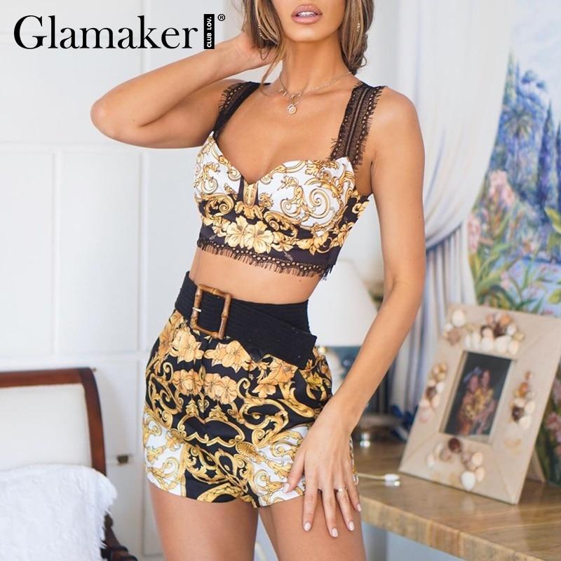 Glamaker Sexy paisley print two piece set short   jumpsuit   Women lace strappy top playsuit Female   jumpsuit   & romper retro overalls