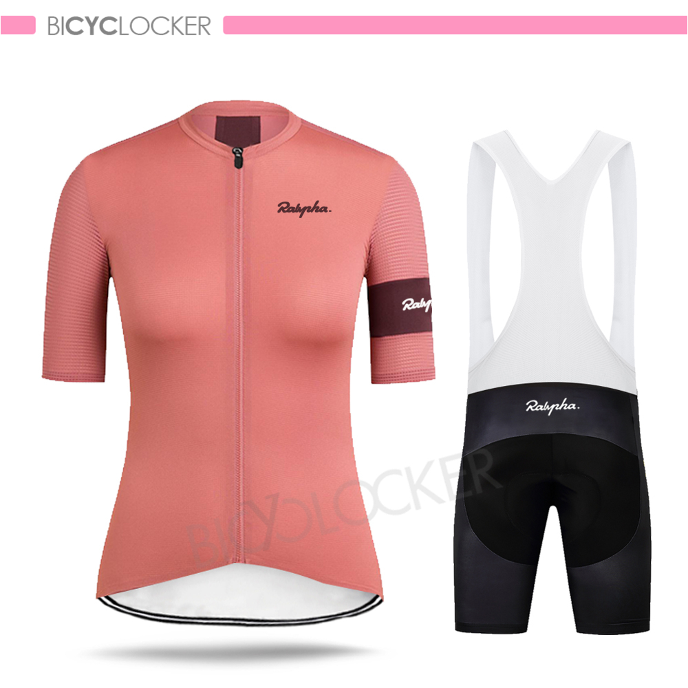 Women Cycling Clothing Jersey Sets Raphaful Short Sleeve Uniform Suit Simple Summer Pro Bike Breathable Quick Dry Maillot